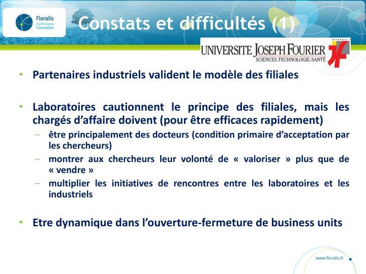 Constats et difficultés (1)