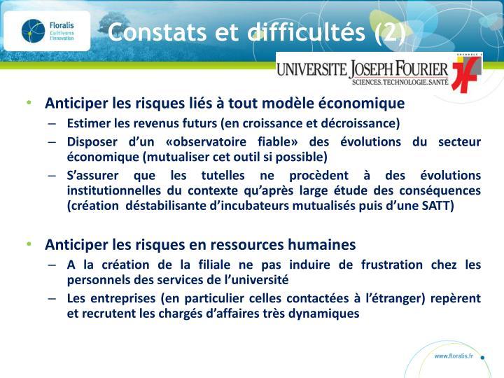 Constats et difficultés (2)