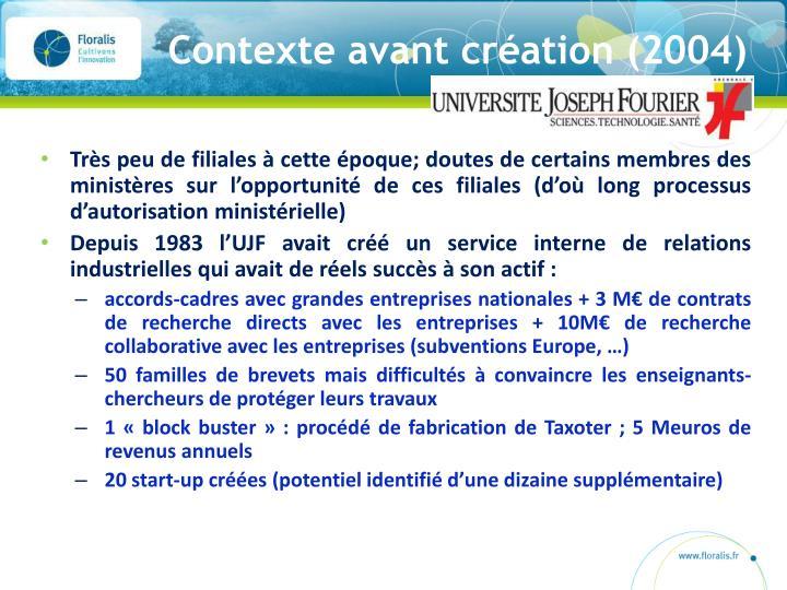 Contexte avant création (2004)