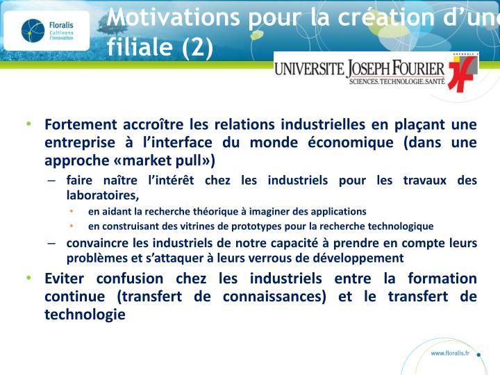 Motivations pour la création d'une filiale (2)