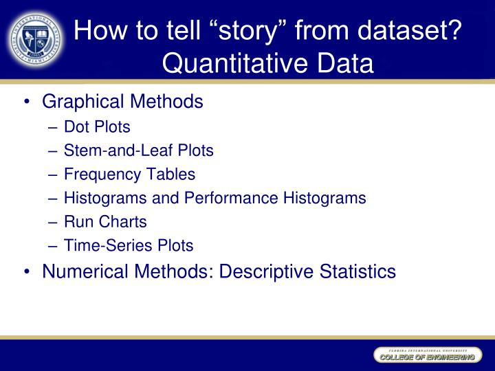 How to tell story from dataset quantitative data