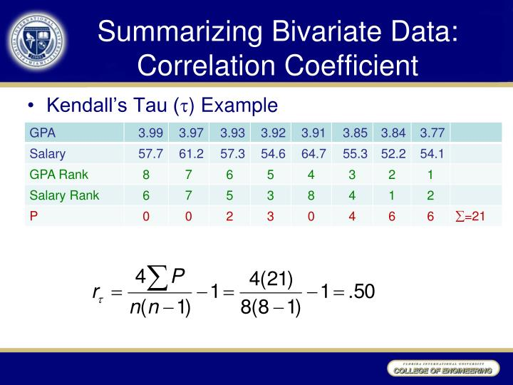 Summarizing Bivariate Data: