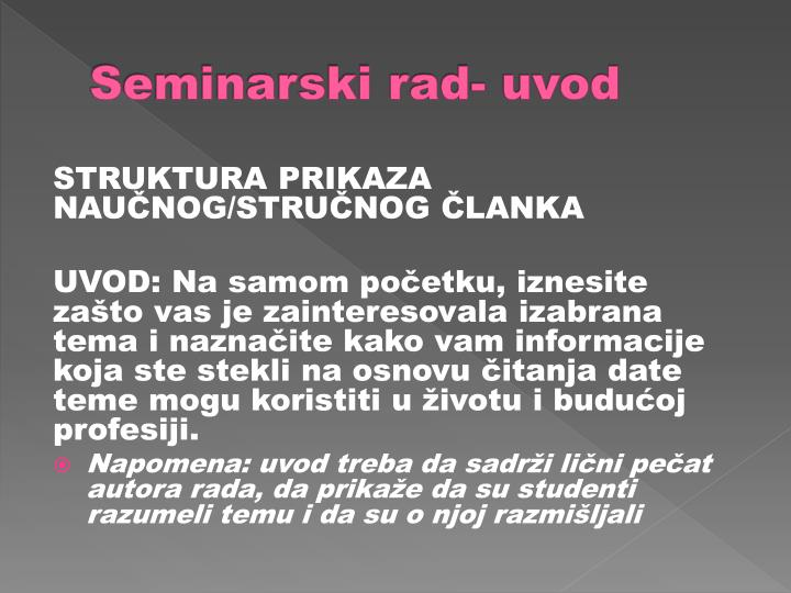 Seminarski rad- uvod