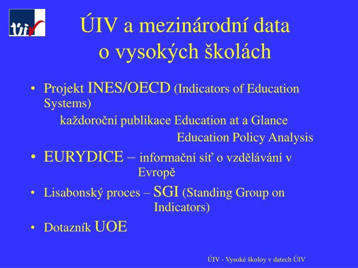 ÚIV a mezinárodní data