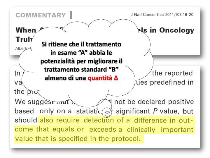 """Si ritiene che il trattamento in esame """"A"""" abbia le potenzialità per migliorare il trattamento standard """"B"""" almeno di una"""