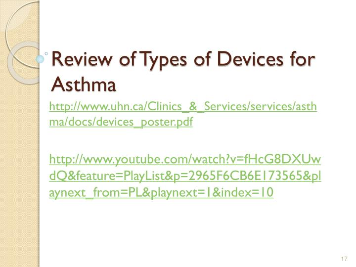 Review of Types of Devices for Asthma