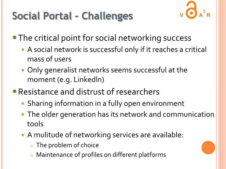 Social Portal - Challenges