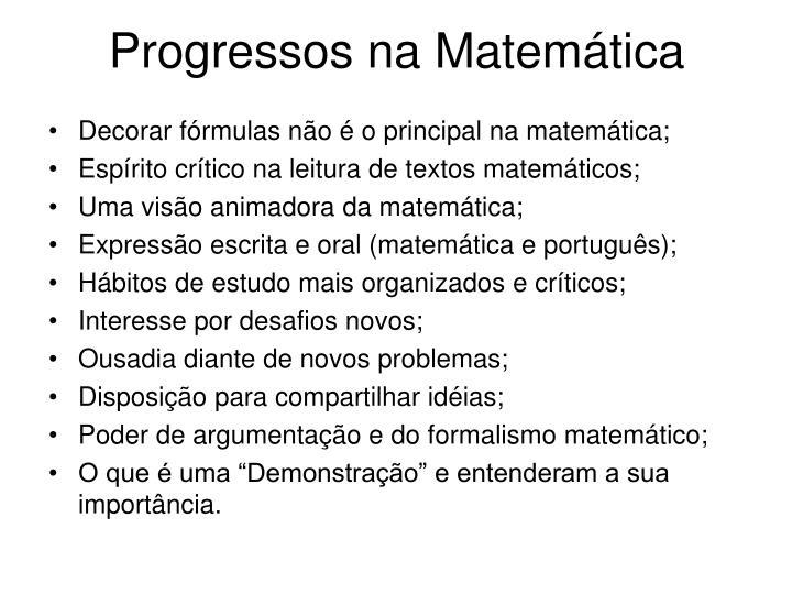 Progressos na Matemática