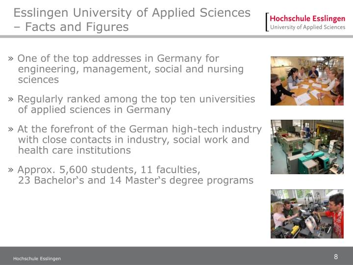 Esslingen University of Applied Sciences – Facts and Figures