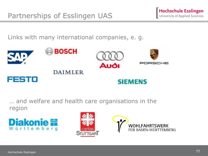 Partnerships of Esslingen UAS