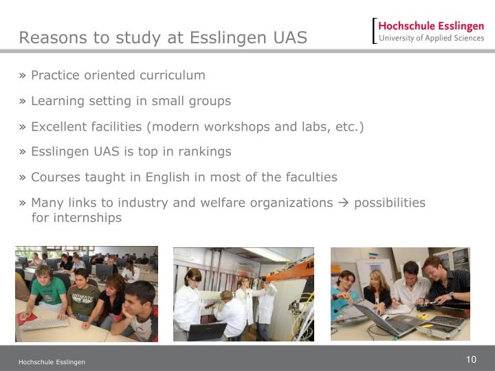 Reasons to study at Esslingen UAS