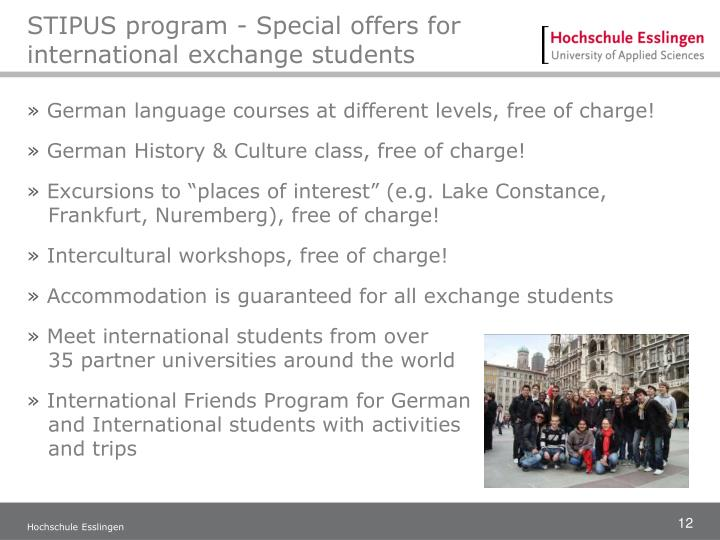 STIPUS program - Special offers for international exchange students