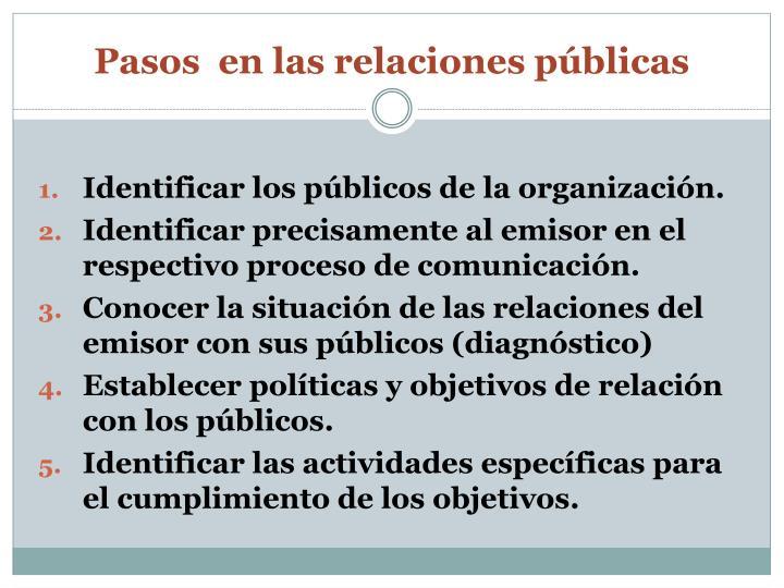 Pasos  en las relaciones públicas