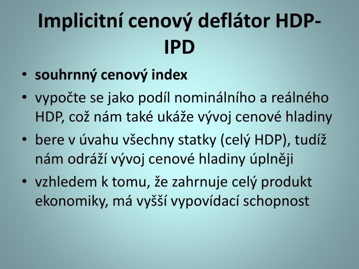 Implicitní cenový deflátor HDP- IPD