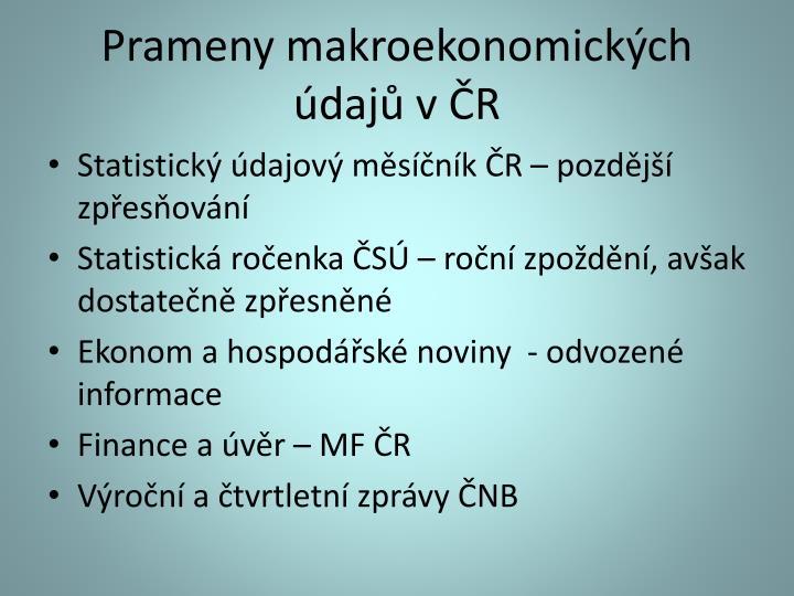 Prameny makroekonomických údajů v ČR