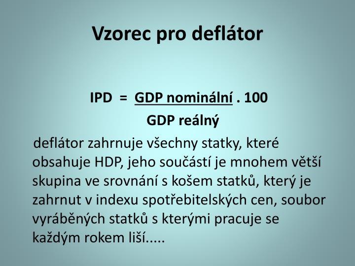 Vzorec pro deflátor