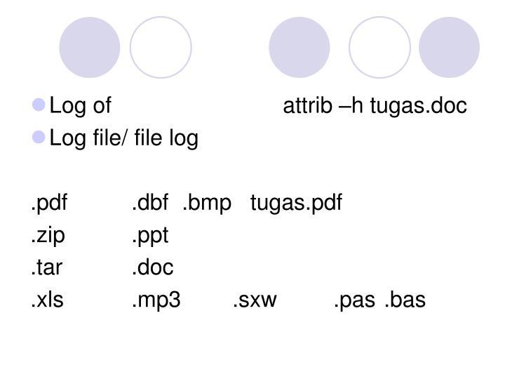 Log ofattrib –h tugas.doc