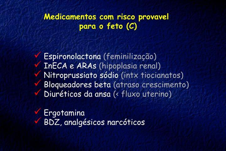Medicamentos com risco provavel