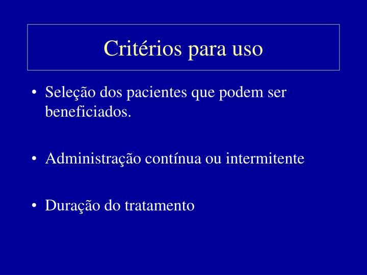Critérios para uso