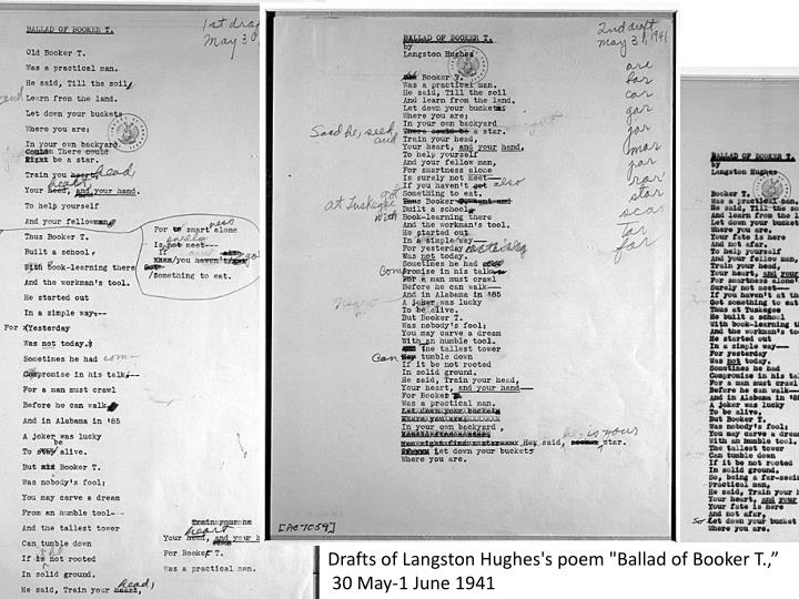 """Drafts of Langston Hughes's poem """"Ballad of Booker T.,"""
