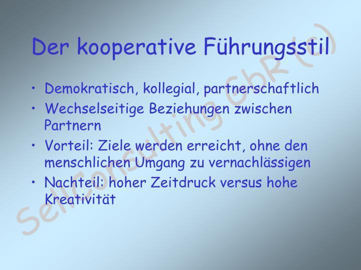 Demokratisch, kollegial, partnerschaftlich