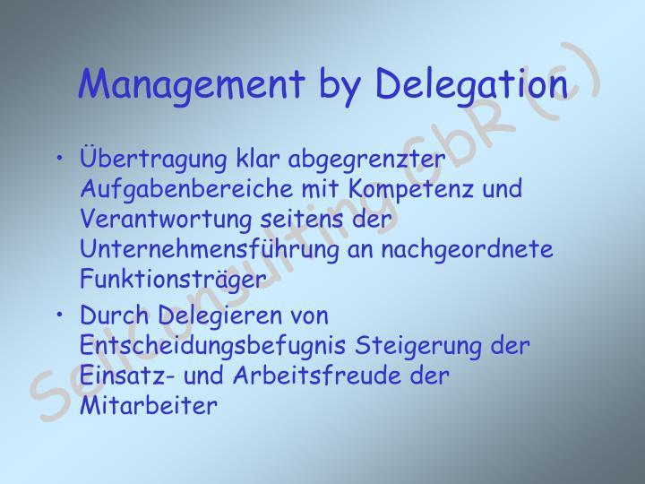 Übertragung klar abgegrenzter Aufgabenbereiche mit Kompetenz und Verantwortung seitens der Unternehmensführung an nachgeordnete Funktionsträger