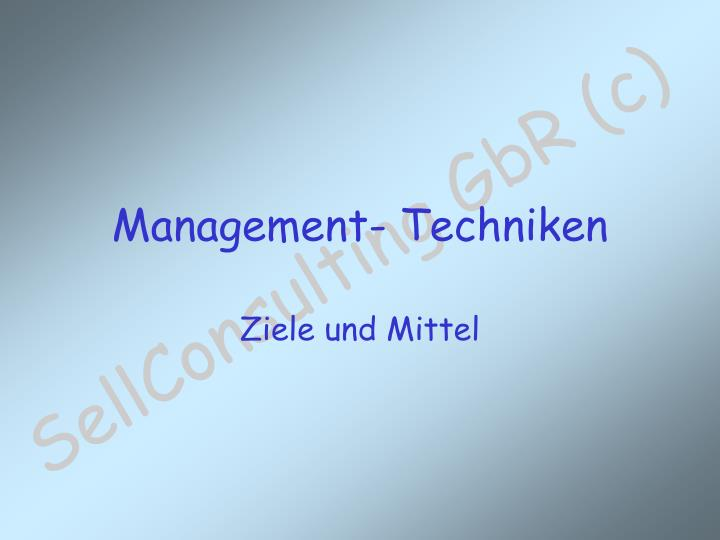 Management- Techniken