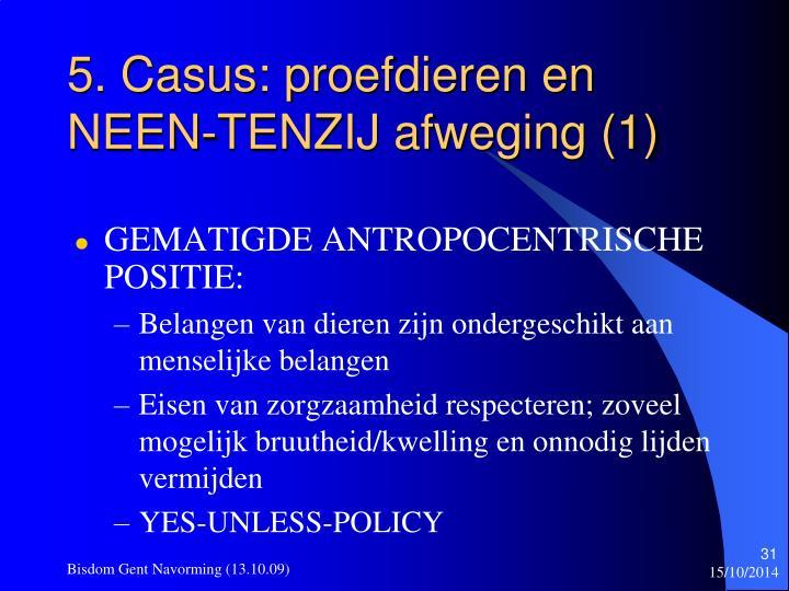 5. Casus: proefdieren en NEEN-TENZIJ afweging (1)
