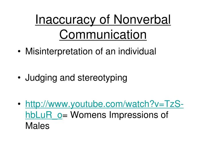 Inaccuracy of Nonverbal Communication