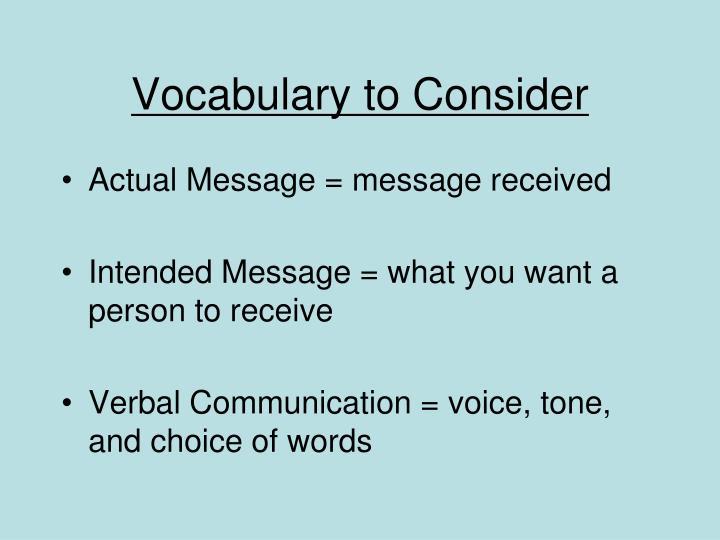 Vocabulary to Consider