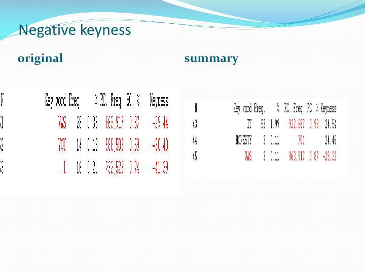 Negative keyness