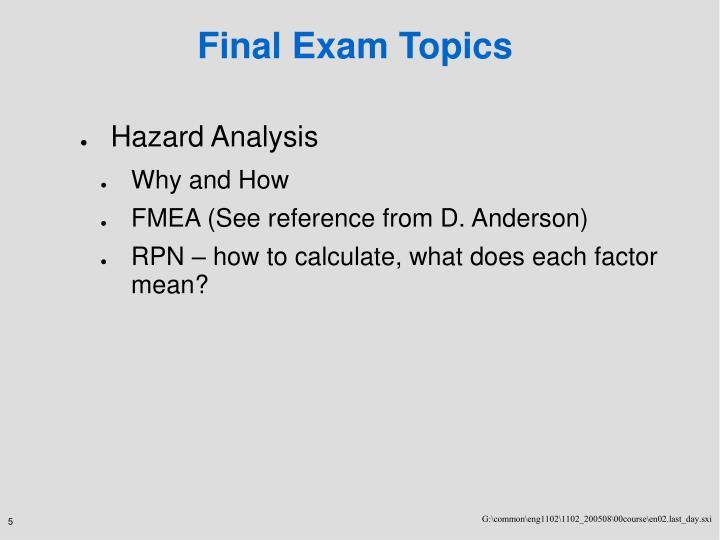 Final Exam Topics