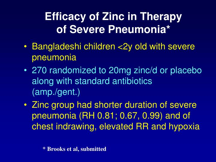 Efficacy of Zinc in Therapy