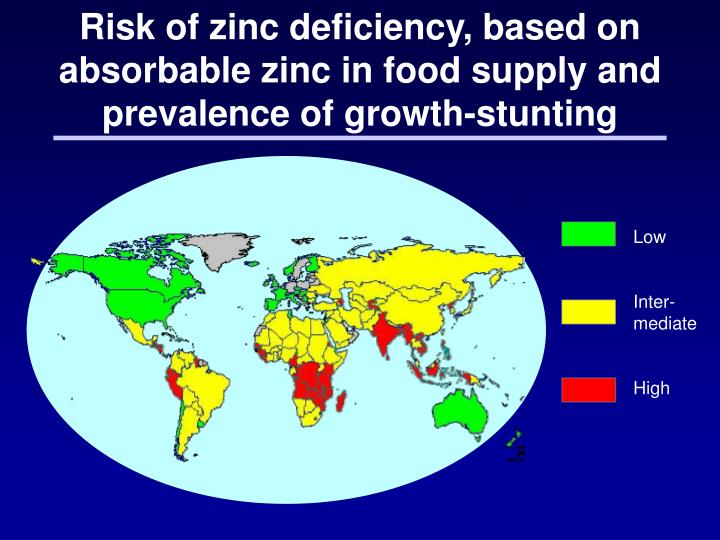 Risk of zinc deficiency, based on absorbable zinc in food supply and prevalence of growth-stunting