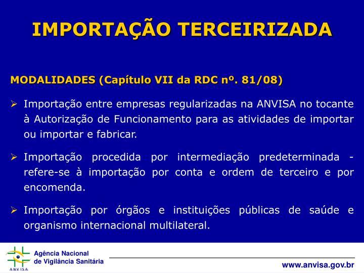 IMPORTAÇÃO TERCEIRIZADA