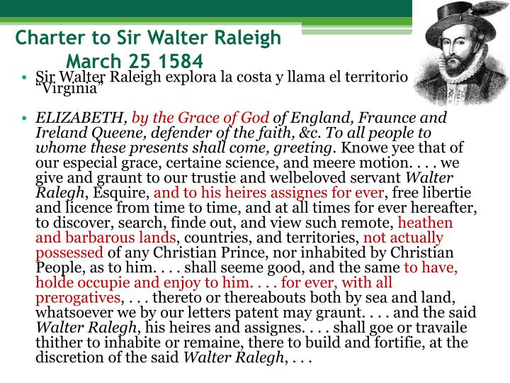 Charter to Sir Walter Raleigh
