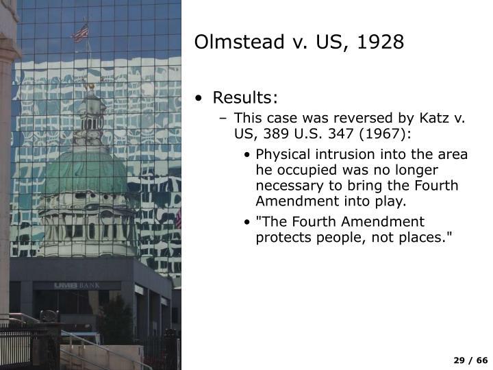 Olmstead v. US, 1928