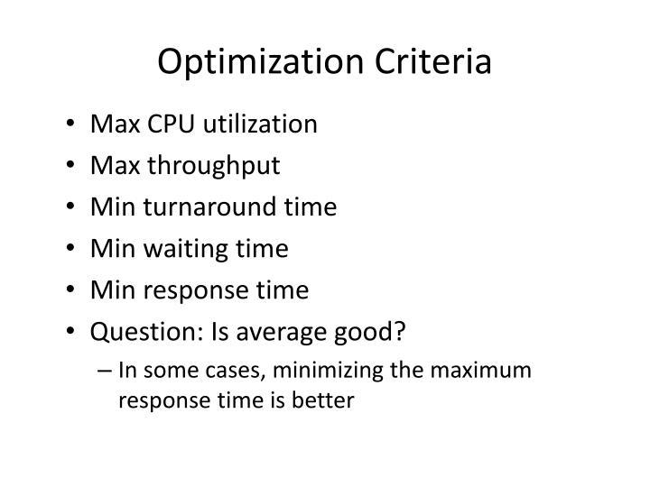 Optimization Criteria
