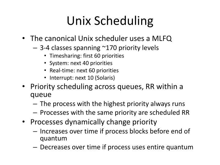 Unix Scheduling
