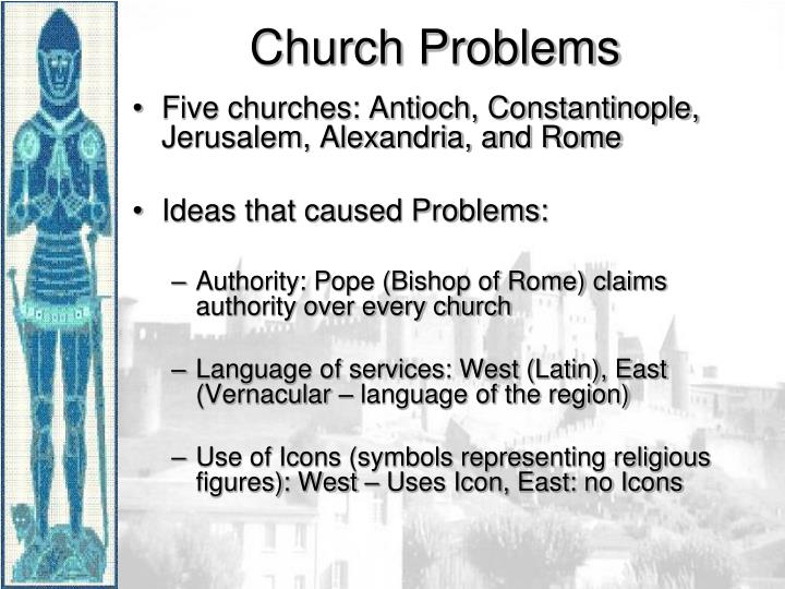 Five churches: Antioch, Constantinople, Jerusalem, Alexandria, and Rome