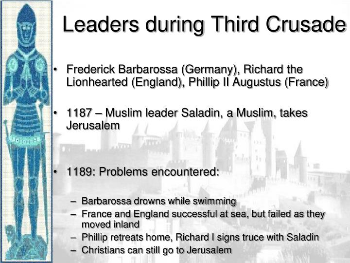 Frederick Barbarossa (Germany), Richard the Lionhearted (England), Phillip II Augustus (France)