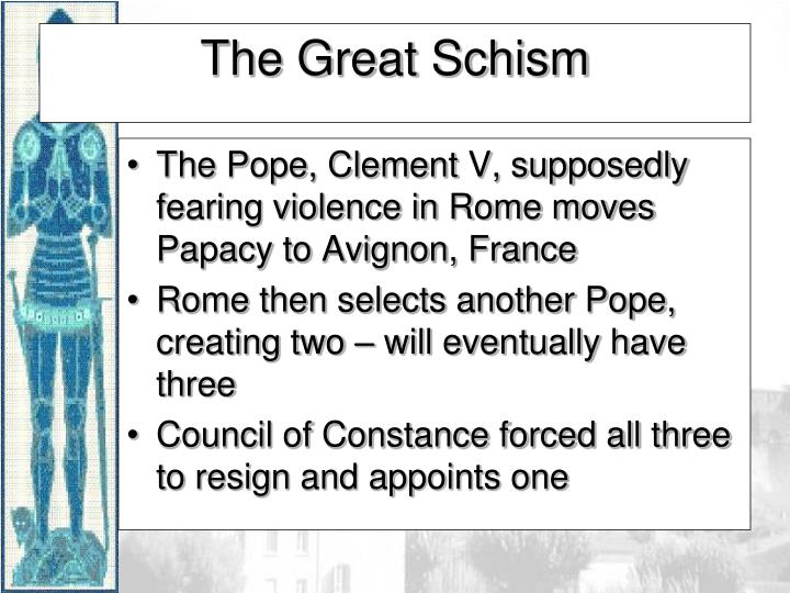 The Pope, Clement V, supposedly fearing violence in Rome moves Papacy to Avignon, France