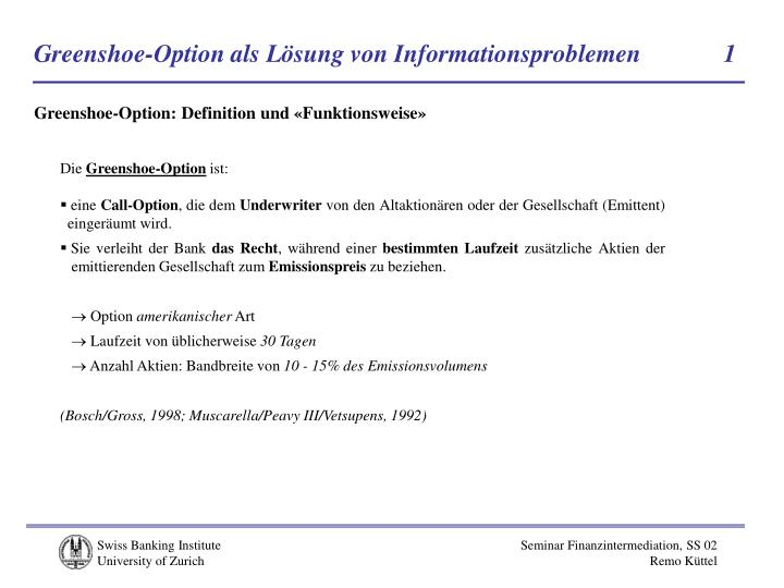 Greenshoe-Option als Lösung von Informationsproblemen            1