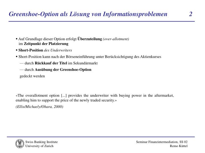 Greenshoe-Option als Lösung von Informationsproblemen            2