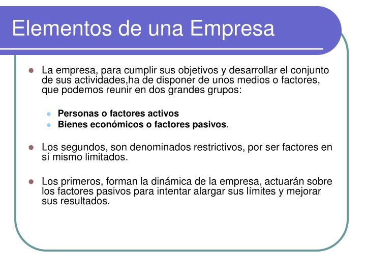 Elementos de una Empresa