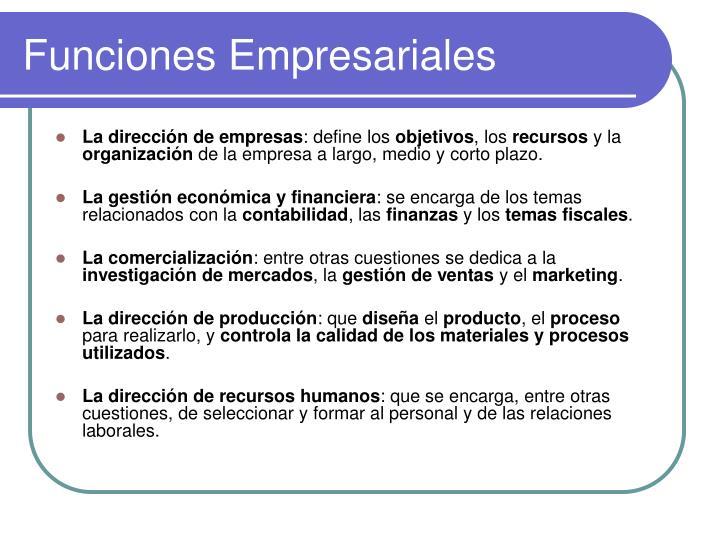 Funciones Empresariales