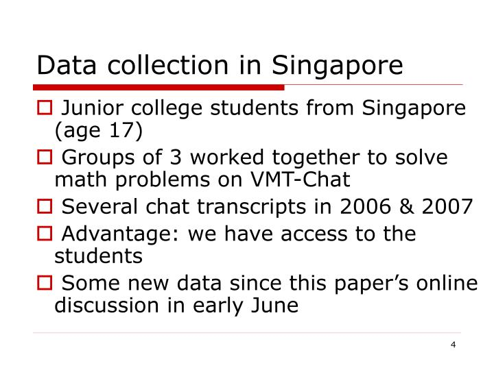Data collection in Singapore