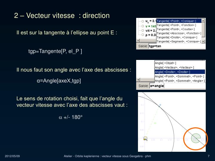 2 – Vecteur vitesse  : direction