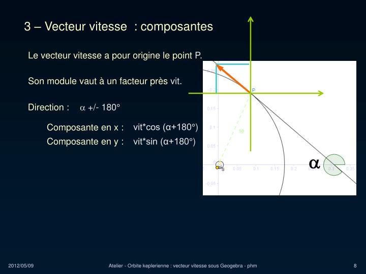 3 – Vecteur vitesse  : composantes