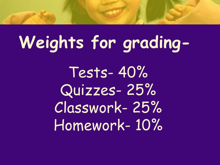 Weights for grading-